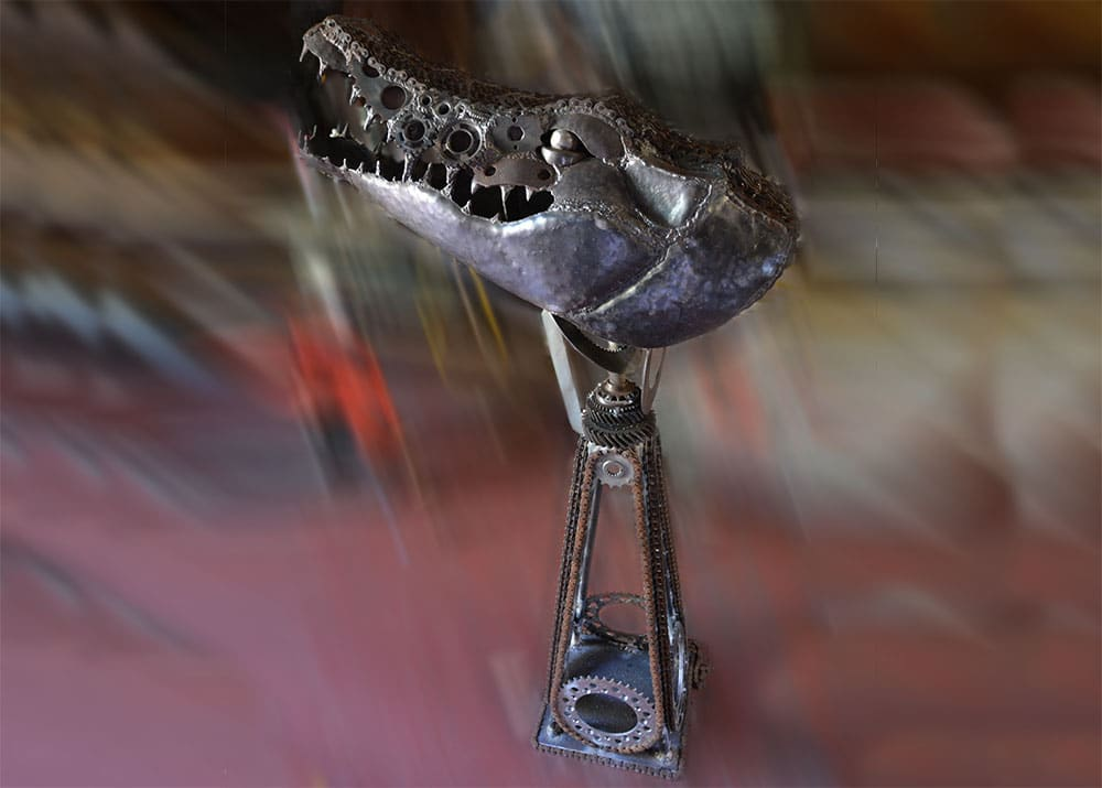 Crocodile Head Metal Sculpture on recycled steel stand
