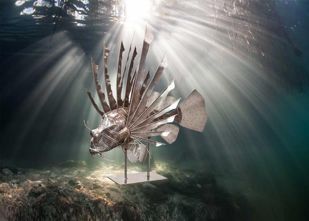 Metal Sculpture Lionfish underwater background