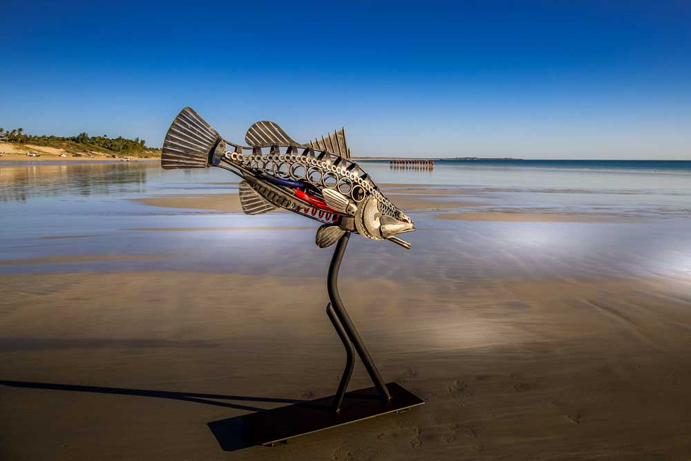 Art Metal Sculpture Barramundi at Cable Beach Broome