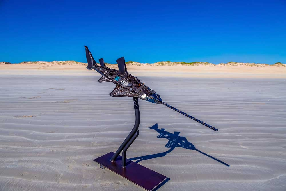 Art Metal Sculpture Sawfish at Cable Beach