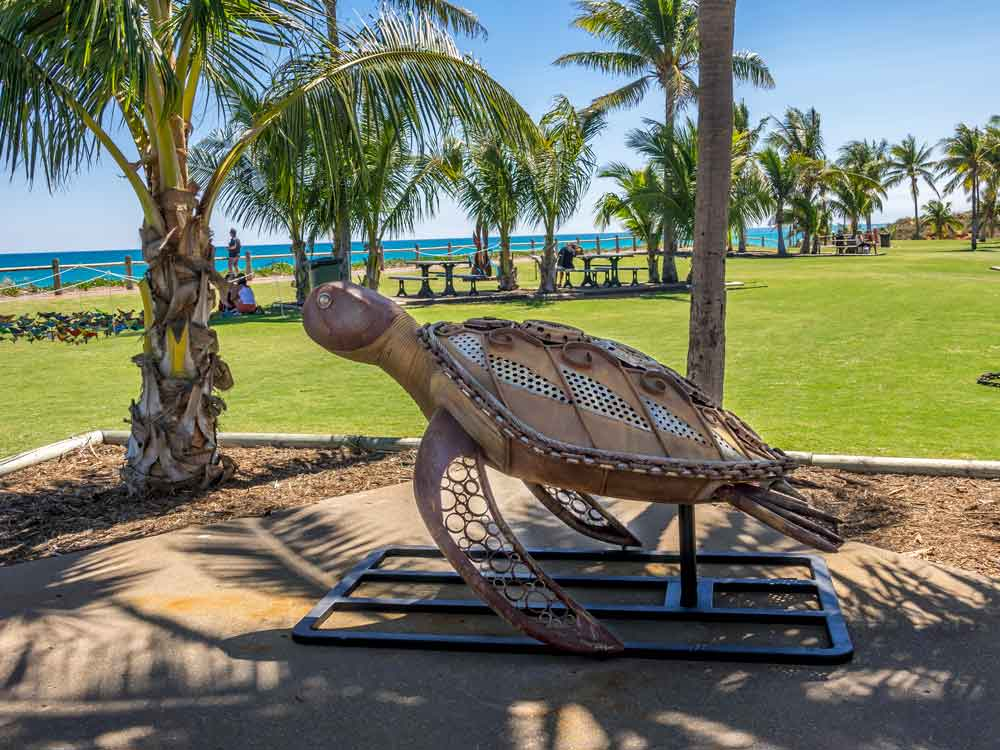 Loggerhead Sea Turtle Metal Sculpture at Cable Beach