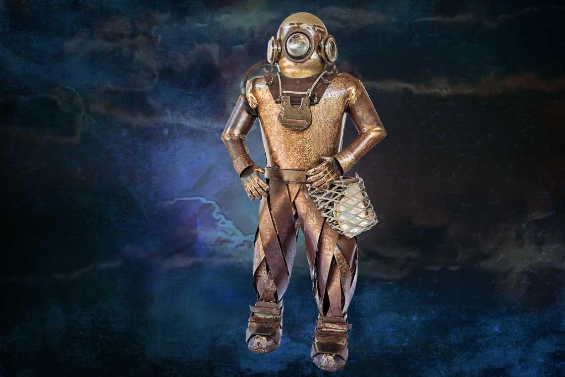 Art Metal Sculpture Old Pearl Diver Broome