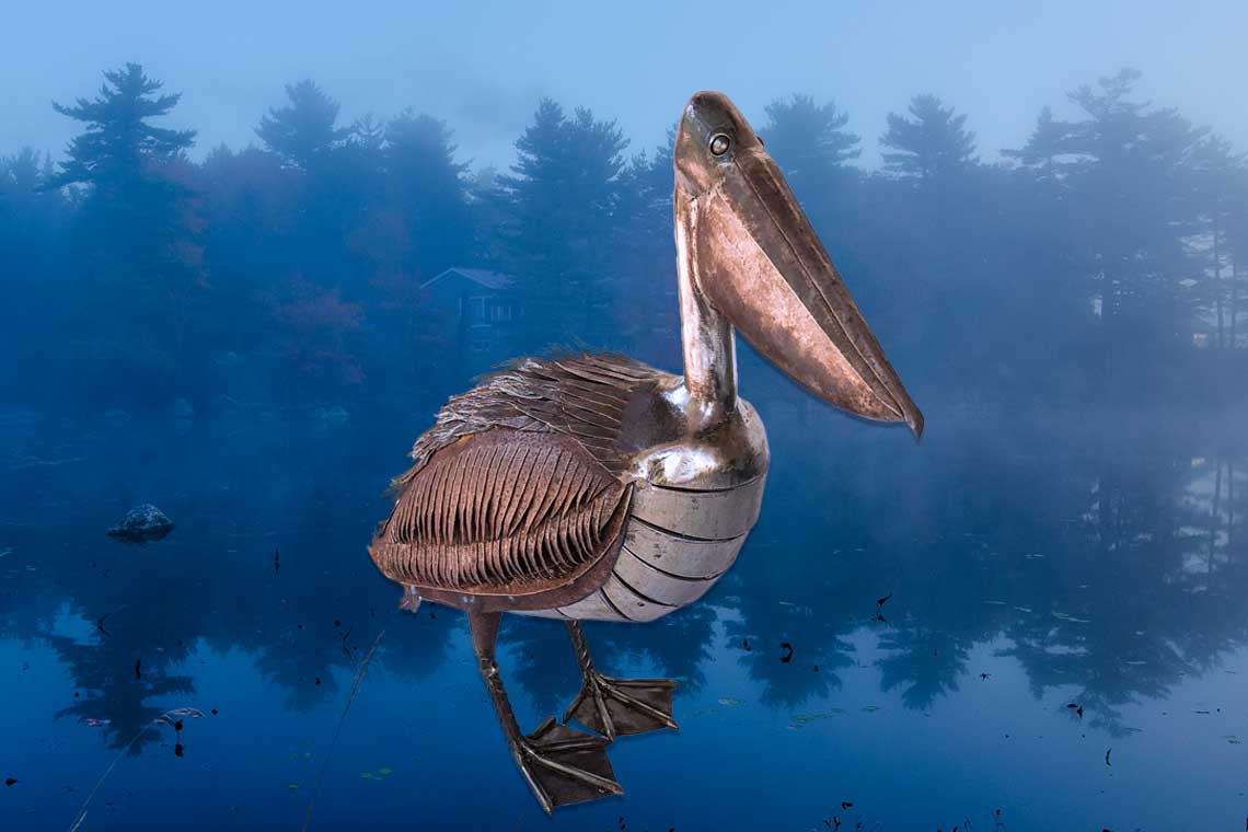 Art Metal Sculpture Pelican on lake